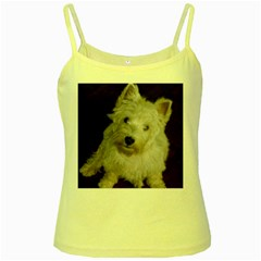 West highland white terrier puppy Yellow Spaghetti Tank