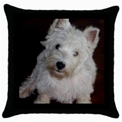 West highland white terrier puppy Throw Pillow Case (Black)