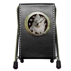 West highland white terrier puppy Pen Holder Desk Clocks