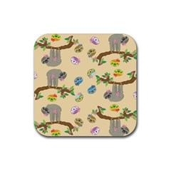 Sloth Tan Bg Rubber Coaster (Square)