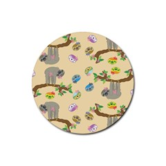 Sloth Tan Bg Rubber Coaster (Round)