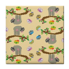Sloth Tan Bg Face Towel