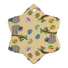 Sloth Tan Bg Ornament (Snowflake)