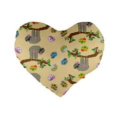 Sloth Tan Bg Standard 16  Premium Flano Heart Shape Cushions