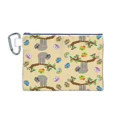 Sloth Tan Bg Canvas Cosmetic Bag (M)
