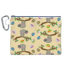 Sloth Tan Bg Canvas Cosmetic Bag (XL)