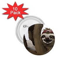 Sloth Hippie 1.75  Buttons (10 pack)