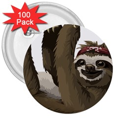Sloth Hippie 3  Buttons (100 pack)