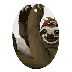 Sloth Hippie Oval Ornament (Two Sides)