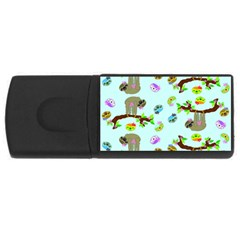 Sloth Blue Bg USB Flash Drive Rectangular (1 GB)