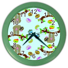 Sloth Blue Bg Color Wall Clocks