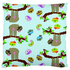 Sloth Blue Bg Large Cushion Case (Two Sides)