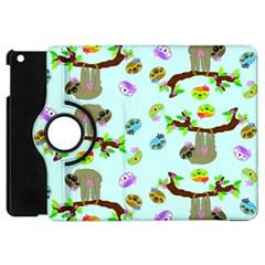 Sloth Blue Bg Apple iPad Mini Flip 360 Case