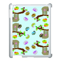 Sloth Blue Bg Apple iPad 3/4 Case (White)