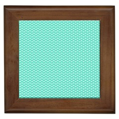 Tiffany Aqua Blue with White Lipstick Kisses Framed Tiles