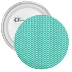 Tiffany Aqua Blue with White Lipstick Kisses 3  Buttons