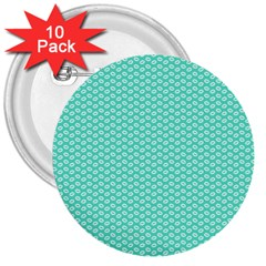 Tiffany Aqua Blue with White Lipstick Kisses 3  Buttons (10 pack)