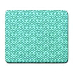 Tiffany Aqua Blue with White Lipstick Kisses Large Mousepads