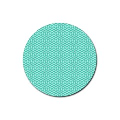 Tiffany Aqua Blue with White Lipstick Kisses Rubber Coaster (Round)