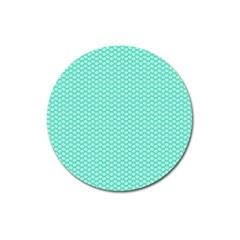 Tiffany Aqua Blue with White Lipstick Kisses Magnet 3  (Round)