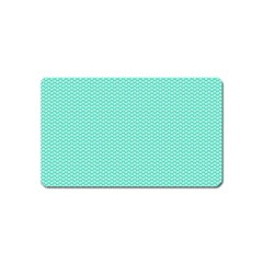 Tiffany Aqua Blue with White Lipstick Kisses Magnet (Name Card)