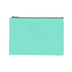 Tiffany Aqua Blue with White Lipstick Kisses Cosmetic Bag (Large)