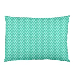 Tiffany Aqua Blue with White Lipstick Kisses Pillow Case (Two Sides)