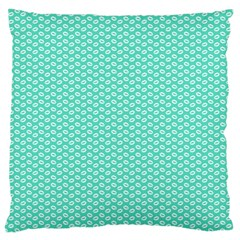 Tiffany Aqua Blue with White Lipstick Kisses Large Cushion Case (One Side)