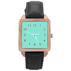 Tiffany Aqua Blue with White Lipstick Kisses Rose Gold Leather Watch