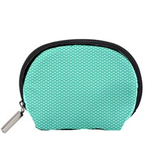 Tiffany Aqua Blue with White Lipstick Kisses Accessory Pouches (Small)