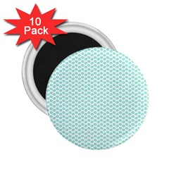 Tiffany Aqua Blue Lipstick Kisses on White 2.25  Magnets (10 pack)