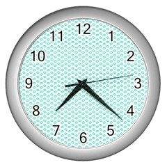 Tiffany Aqua Blue Lipstick Kisses on White Wall Clocks (Silver)