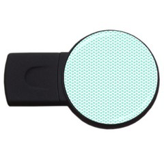 Tiffany Aqua Blue Lipstick Kisses on White USB Flash Drive Round (4 GB)