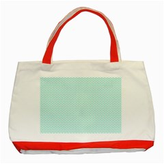 Tiffany Aqua Blue Lipstick Kisses on White Classic Tote Bag (Red)