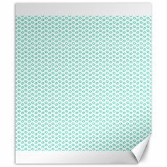 Tiffany Aqua Blue Lipstick Kisses on White Canvas 20  x 24