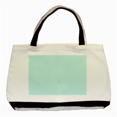 Tiffany Aqua Blue Lipstick Kisses on White Basic Tote Bag (Two Sides)