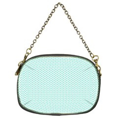 Tiffany Aqua Blue Lipstick Kisses on White Chain Purses (Two Sides)