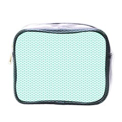 Tiffany Aqua Blue Lipstick Kisses on White Mini Toiletries Bags