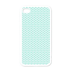Tiffany Aqua Blue Lipstick Kisses on White Apple iPhone 4 Case (White)