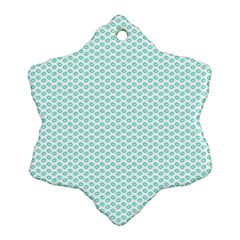 Tiffany Aqua Blue Lipstick Kisses on White Ornament (Snowflake)