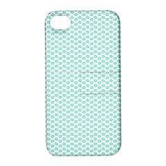 Tiffany Aqua Blue Lipstick Kisses on White Apple iPhone 4/4S Hardshell Case with Stand