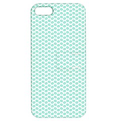 Tiffany Aqua Blue Lipstick Kisses on White Apple iPhone 5 Hardshell Case with Stand