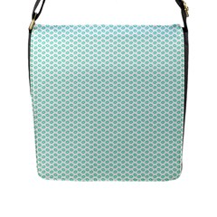 Tiffany Aqua Blue Lipstick Kisses on White Flap Messenger Bag (L)