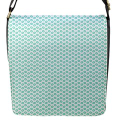 Tiffany Aqua Blue Lipstick Kisses on White Flap Messenger Bag (S)
