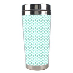 Tiffany Aqua Blue Lipstick Kisses on White Stainless Steel Travel Tumblers