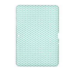 Tiffany Aqua Blue Lipstick Kisses on White Samsung Galaxy Tab 2 (10.1 ) P5100 Hardshell Case