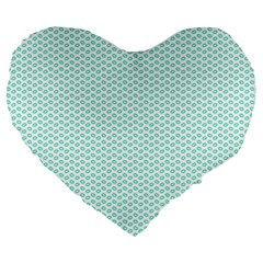 Tiffany Aqua Blue Lipstick Kisses on White Large 19  Premium Flano Heart Shape Cushions