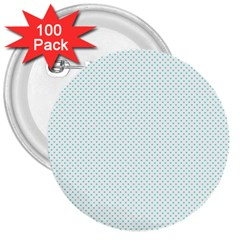 Tiffany Aqua Blue Candy Polkadot Hearts on White 3  Buttons (100 pack)