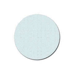 Tiffany Aqua Blue Candy Polkadot Hearts on White Rubber Coaster (Round)