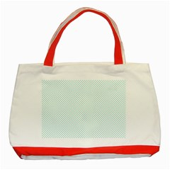 Tiffany Aqua Blue Candy Polkadot Hearts on White Classic Tote Bag (Red)